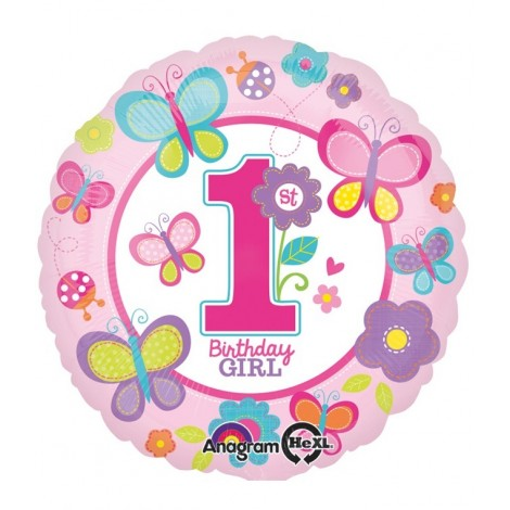 Balon 1st Birthday Girl Folie 45 Cm - marimea 158 cm