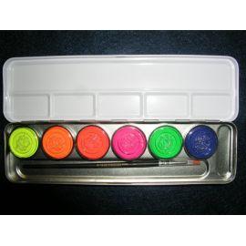 Set 6 culori Fluo - cutie metal