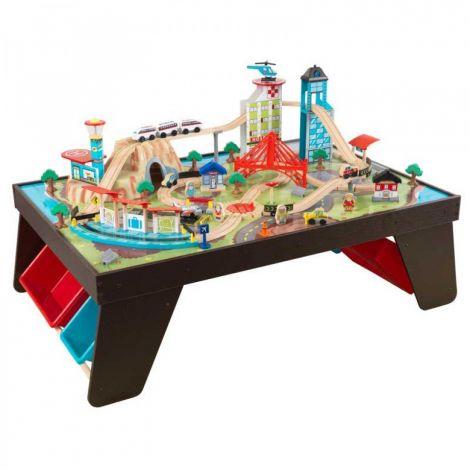 Trenulet din lemn Aerocity si masa de joaca