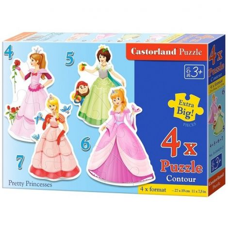Puzzle 4 in 1 Printese dragute Castorland