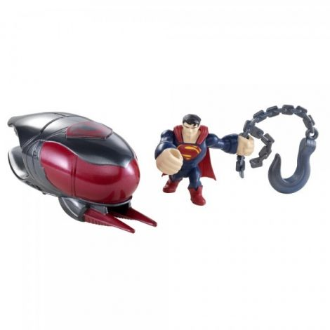Figurina lansatoare Man of Steel si vehicul Cruiser Smash