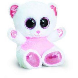 Ursulet de plus Animotsu alb cu roz 15 cm Keel Toys