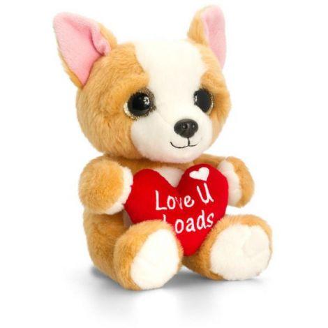 Animalut de plus crem Sparkle Eyes cu inimoara 20 cm Keel Toys