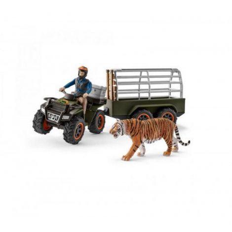 Set figurine schleich padurar transportand un tigru cu atvul sl42351