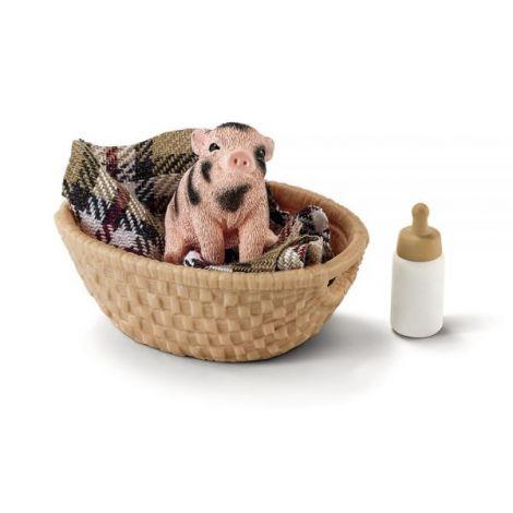 Set figurina schleich porc pitic cu sticla sl42294