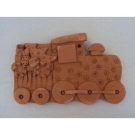 Decoratiune ceramica pentru perete locomotiva - 12x18cm, 250gr