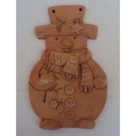 Decoratiune ceramica pentru perete om de zapada 2 - 20x13cm, 230gr