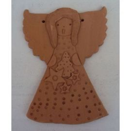 Decoratiune ceramica pentru perete inger 2 - 20x15cm, 280gr