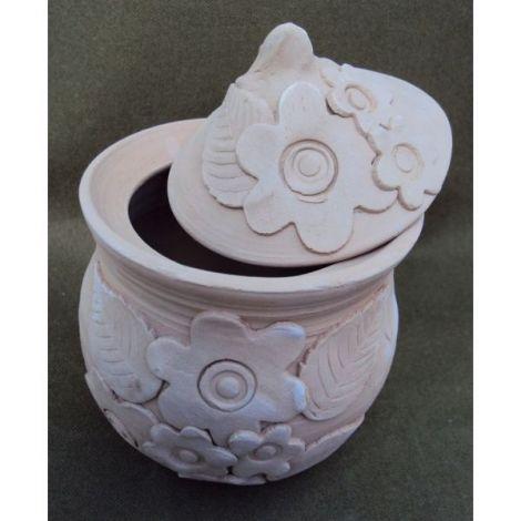 Vas ceramica cu capac cu flori 2