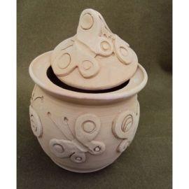 Vas ceramica cu capac cu fluturi