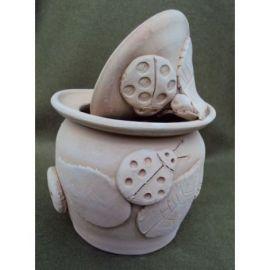 Vas ceramica cu capac cu melci