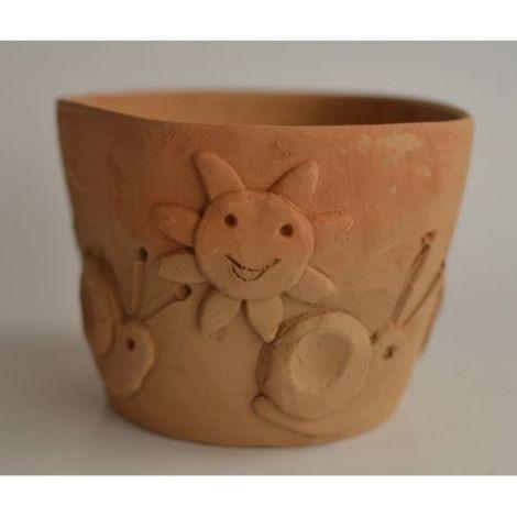 Ghiveci ceramica cu melci si soare 2