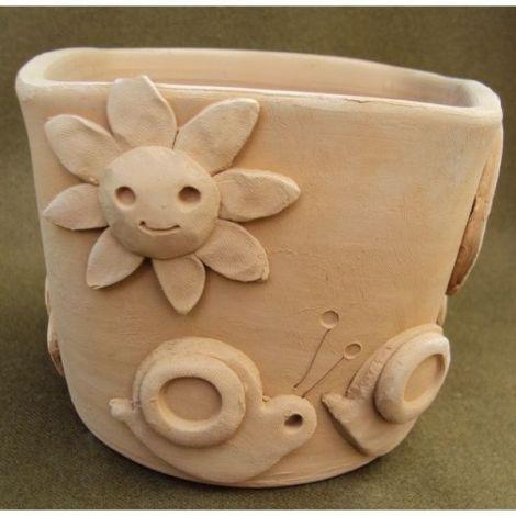 Ghiveci ceramica cu melci si soare 1
