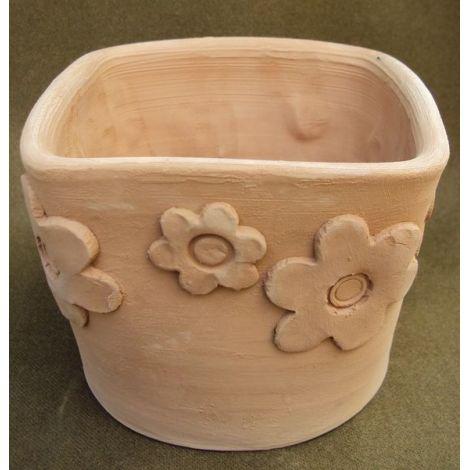 Ghiveci ceramica patrat cu flori 1