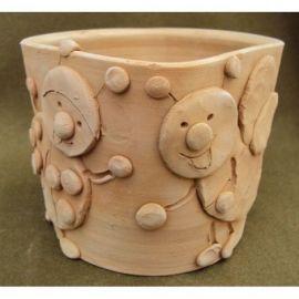 Vaza ceramica cu buburuza si albinuta