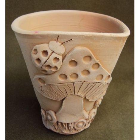 Vaza ceramica cu ciuperca si buburuza 1