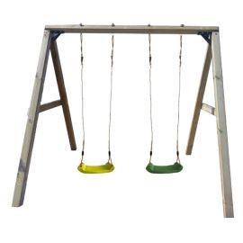 Leagan din lemn pentru 2 copii