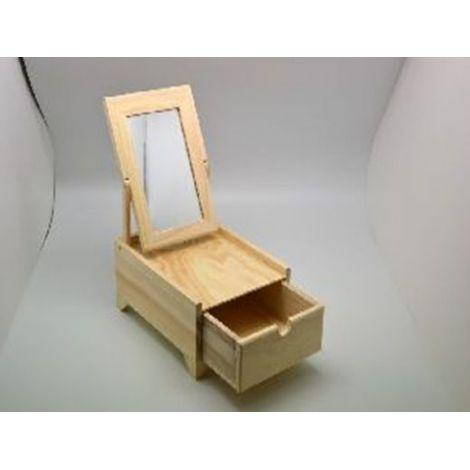 Cutiuta lemn farduri/bijuterii, cu oglinda