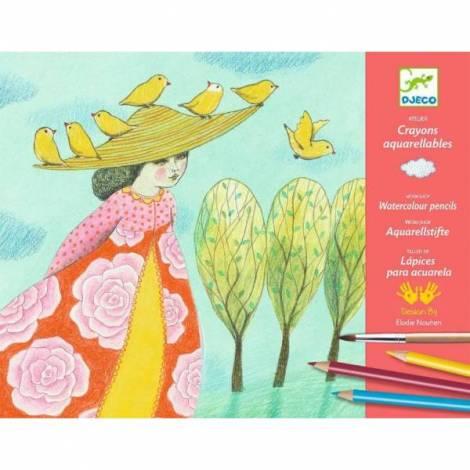 Atelier Creioane Acuarelă Djeco, Echappees Belles imagine