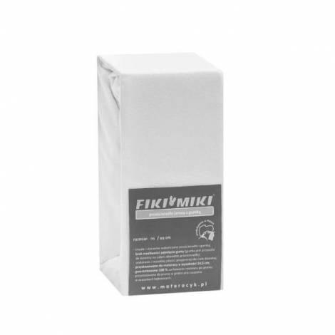 Cearsaf cu elastic jerse din bumbac alb 95/65 cm Fiki Miki
