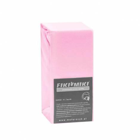 Cearsaf cu elastic jerse din bumbac roz 95/65 cm Fiki Miki
