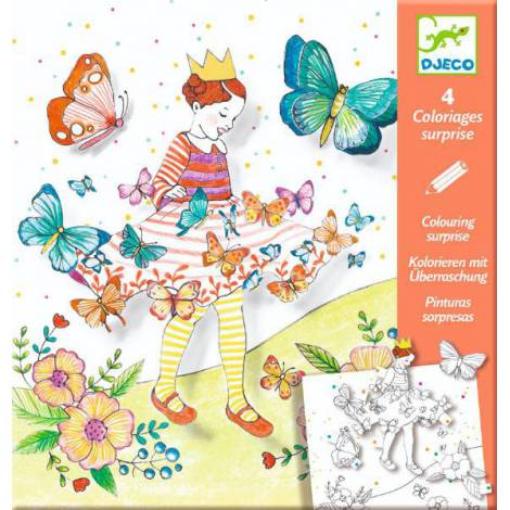 Planșe de desenat cu surprize Djeco, Lady butterfly