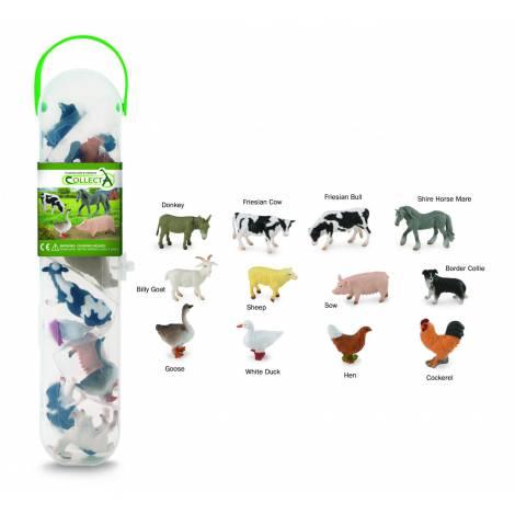 Tub cu 12 mini figurine Animale de la ferma Collecta