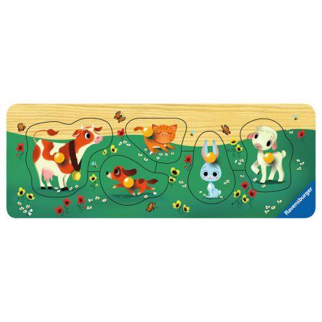 Puzzle din lemn cu animale, 5 piese 4
