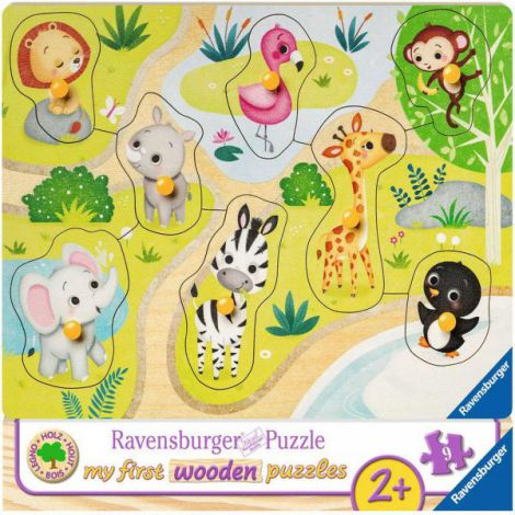 Puzzle din lemn animale zoo, 8 piese