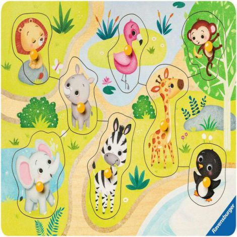 Puzzle din lemn animale zoo, 8 piese 4