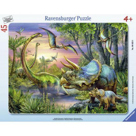 Puzzle dinozauri in zori, 45 piese