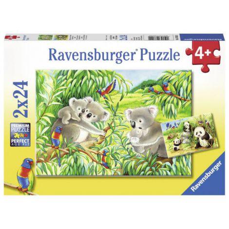 Puzzle koala si panda, 2x24 piese