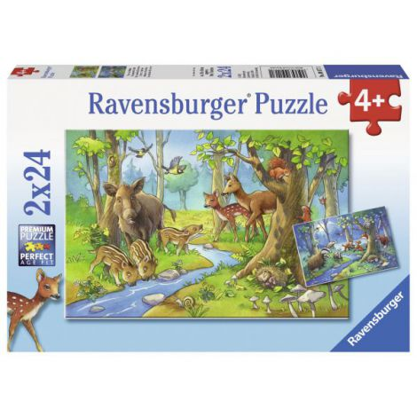 Puzzle animale padure, 2x24 piese
