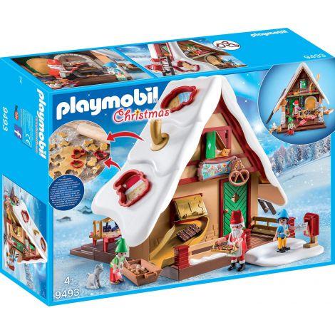 Brutaria lui Mos Craciun cu 3 forme pentru biscuiti si stampila Playmobil