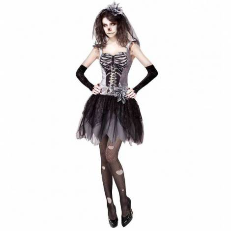 Costum Mireasa Schelet Horror imagine