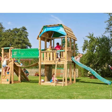 Complex de joaca din lemn Barn cu Bridge Jungle Gym