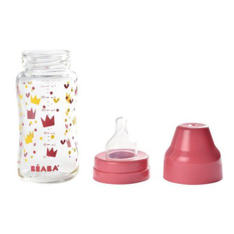 Biberon din sticla cu gat larg Crown 240ml Pink