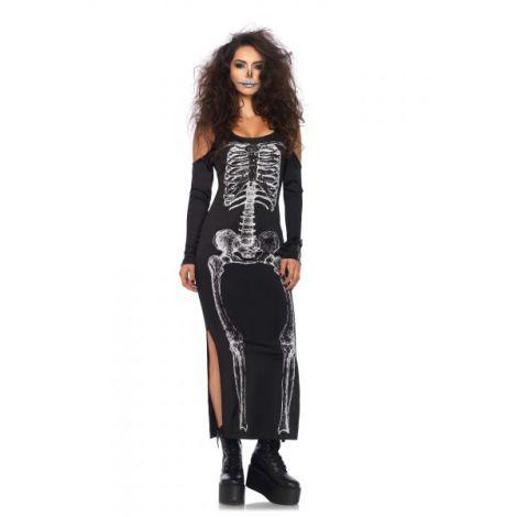 Costum Schelet Rochie Lunga Halloween imagine