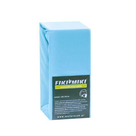 Cearsaf cu elastic jerse din bumbac bleu 120/60 cm
