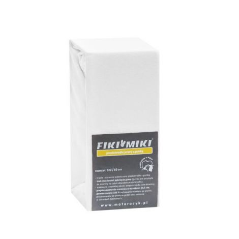 Cearsaf cu elastic jerse din bumbac alb 120/60 cm