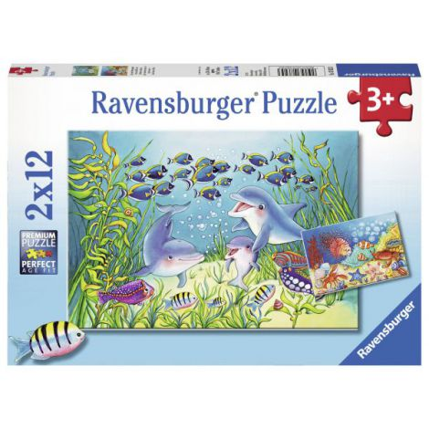Puzzle Animale Ocean, 2x12 Piese imagine