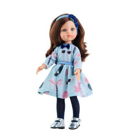 Papusa CAROL in rochie bleu cu palmieri, Paola Reina
