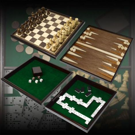 Chess checkers backgammon dominoes and dices