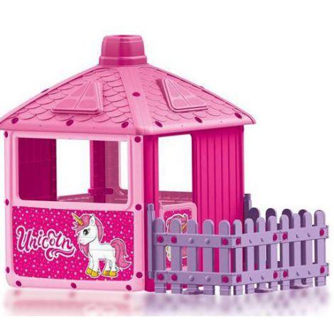Casuta cu gard pentru copii - unicorn