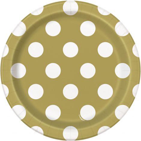 Farfurii petrecere buline aurii 8 buc