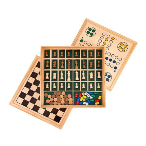 Set 5 in 1 jocuri de societate in cutie lemn Globo