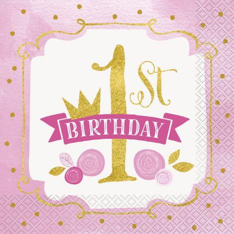Servetele Petrecere 1st Birthday Fetita 16 Buc imagine