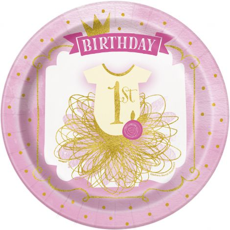 Farfurii petrecere 1st birthday fetita 8 buc