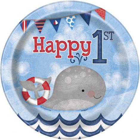 Farfurii petrecere 1st birthday marin 8 buc