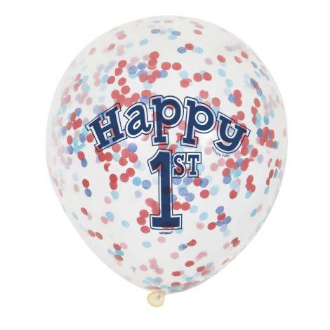 Baloane Latex Happy 1st Confetti 6 Buc imagine